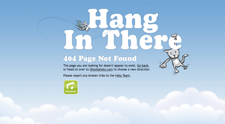 Hang in there humorous 404 error