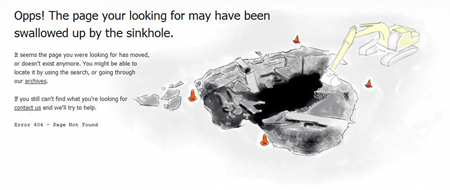 Page swallowed by sinkhole funny 404 error