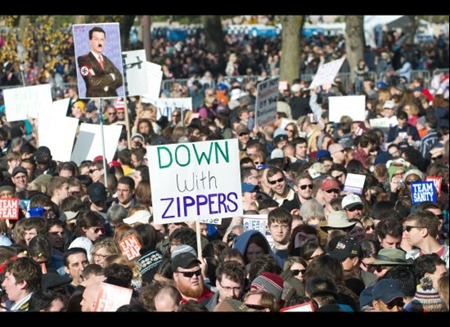 Down with zippers protest sign