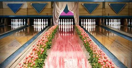 Flower covered pink bowling lane