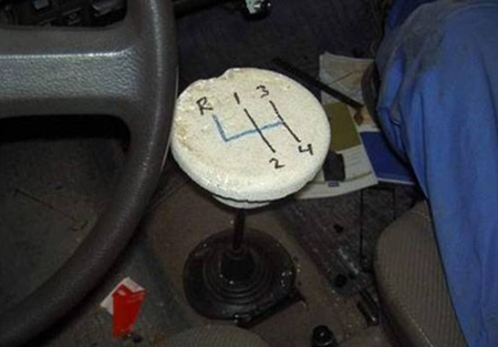 Styrofoam gear shift knob