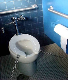 Toilet with lid chained down