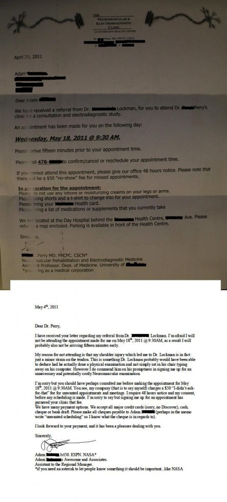 Funny patient letter to doctor in response to threat of charging fee for missing appointment