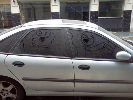 Drawing on dirty car