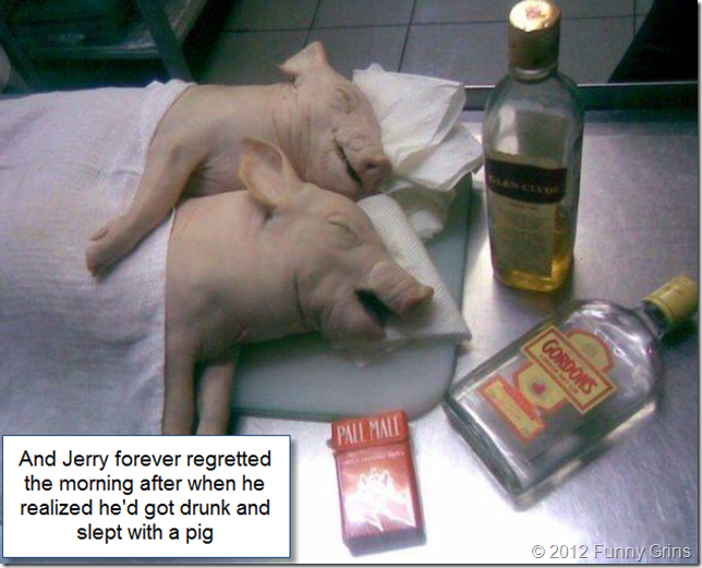 And Jerry forever regretted the morning after when he realized he'd got drunk and slept with a pig