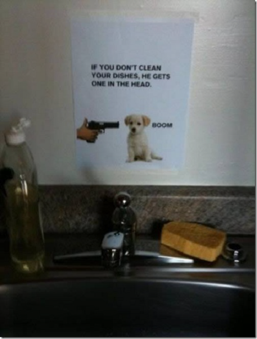 Roomie note - clean dishes or the dog gets it