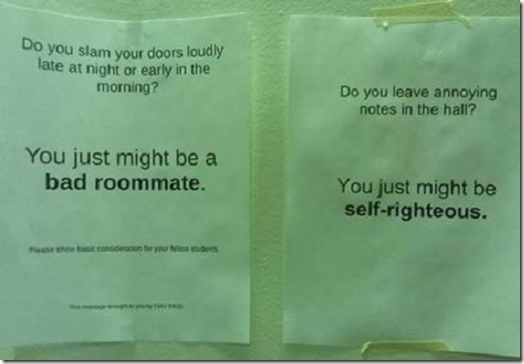 Roomie note - you just might be a bad roommate