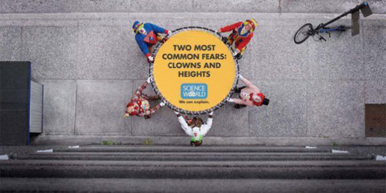 The two most common fears - clowns and heights