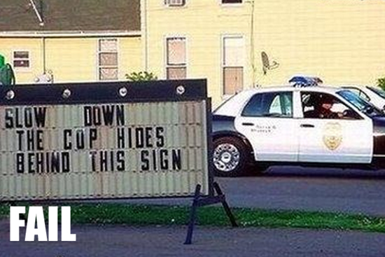 The copy hides behind this sign
