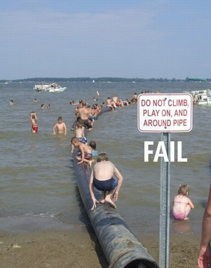 Do no climb or play on pipe