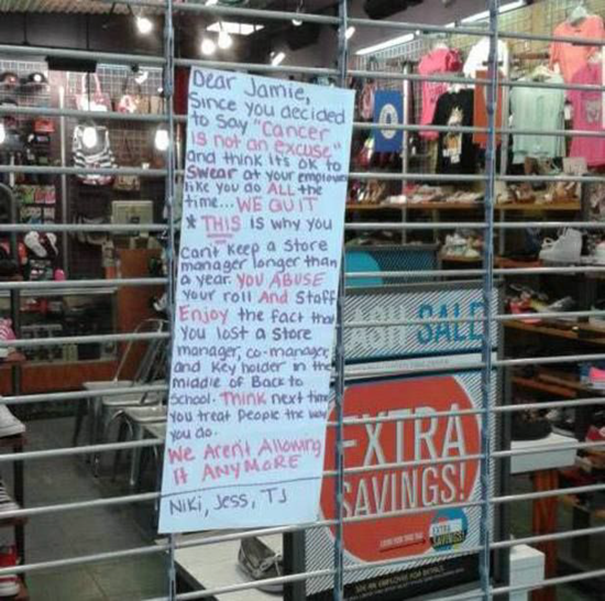 Note left by angry employees after leaving Journeys store because of abusive boss
