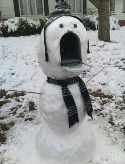 Funny snowman mailbox