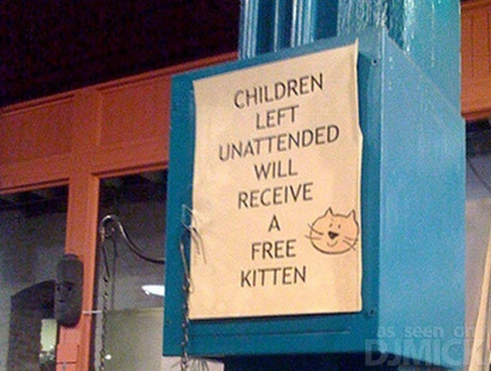 Unattended children will be given a free kitten