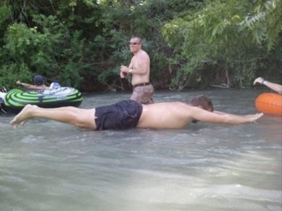 Man appears to lay on water