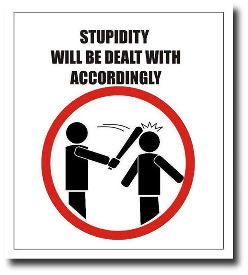 Stupidity will be dealt with accordingly