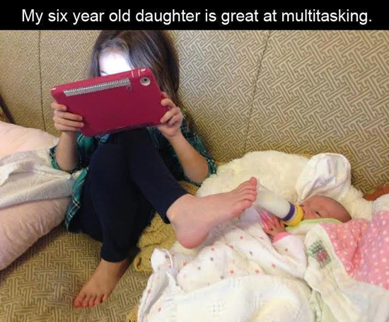 Six year old is great at multitasking