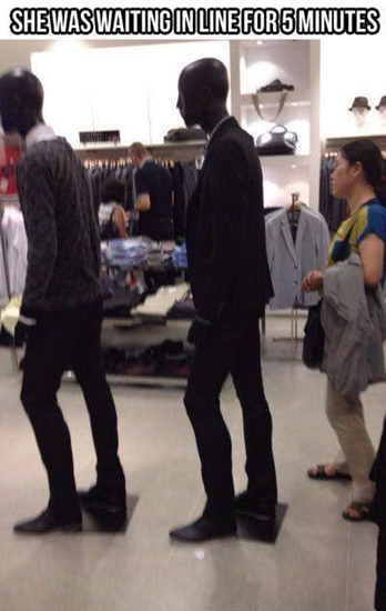 She waited in line for five minutes