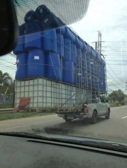 Truck carrying unbelievably large load