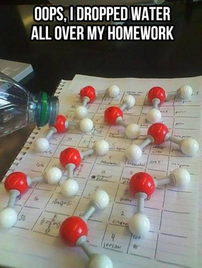 Oops, I spilt water all over my homework