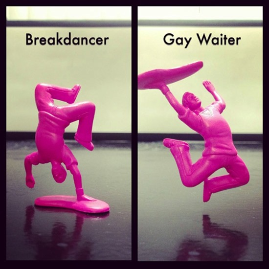 Breakdancer doll upside down becomes gay waiter