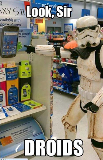 Star Wars characters finds Android in store