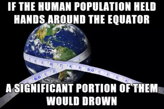 If the human population held hands around the equator…