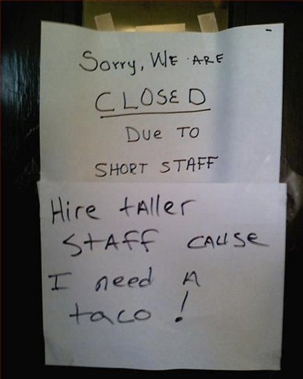 Sorry, we're closed due to short staff