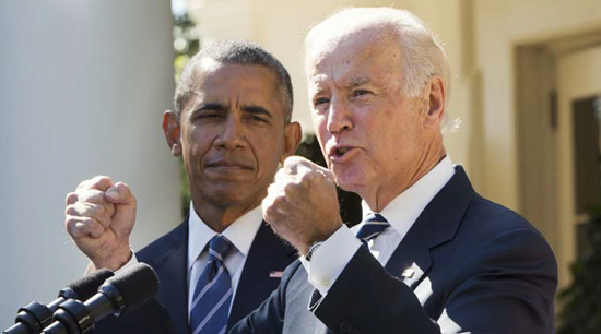 Joe Biden doubling up his fists