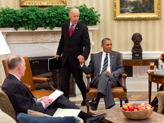 Obama: Joe, why are you holding my hand?