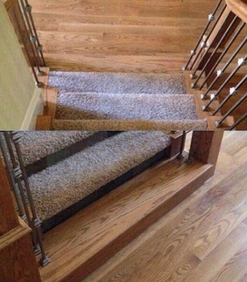 Hidden step at bottom of staircase