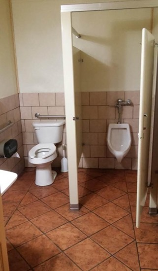 Urinal in stall with toilet exposed