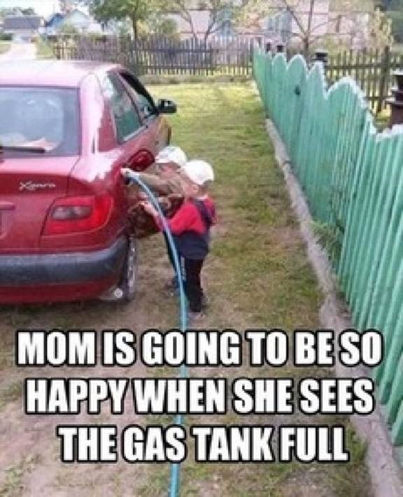 Funny - kids filling gas tank with water