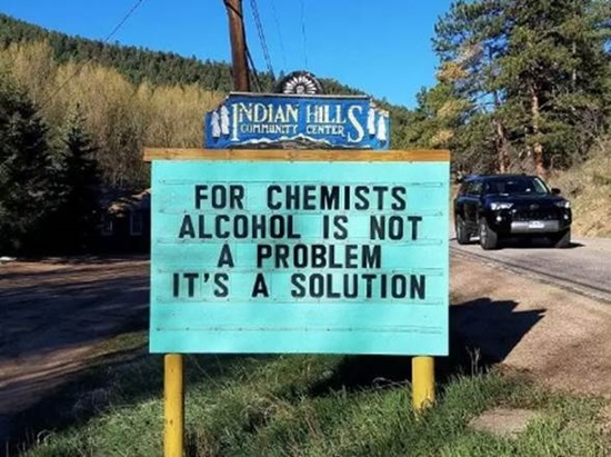 For chemists alcohol is not a problem it's a solution